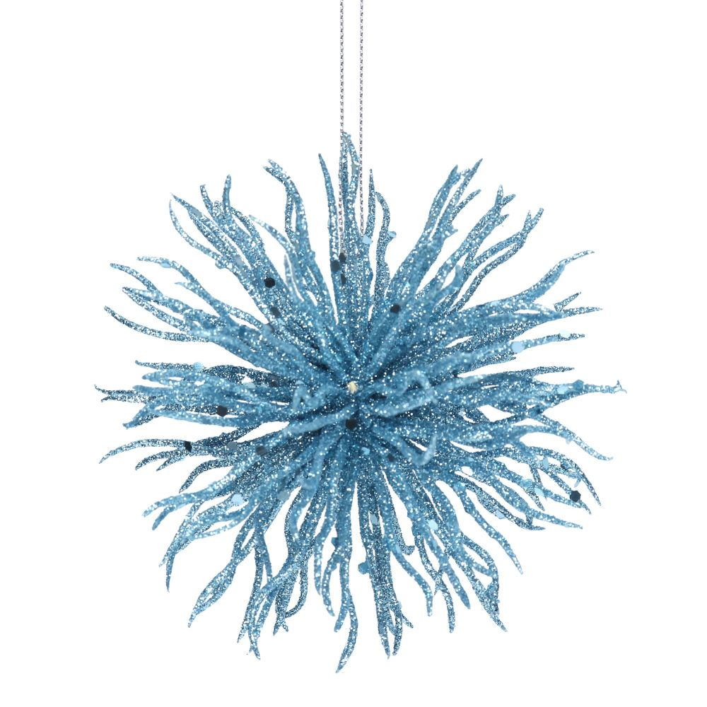 Glitter Graham Blue Glitter Starburst Ball Decoration