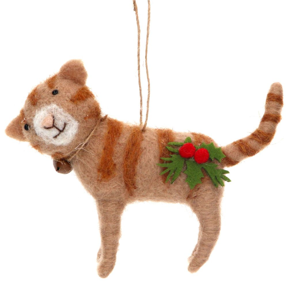 Gisela Graham Wool Cat with Holly Decoration