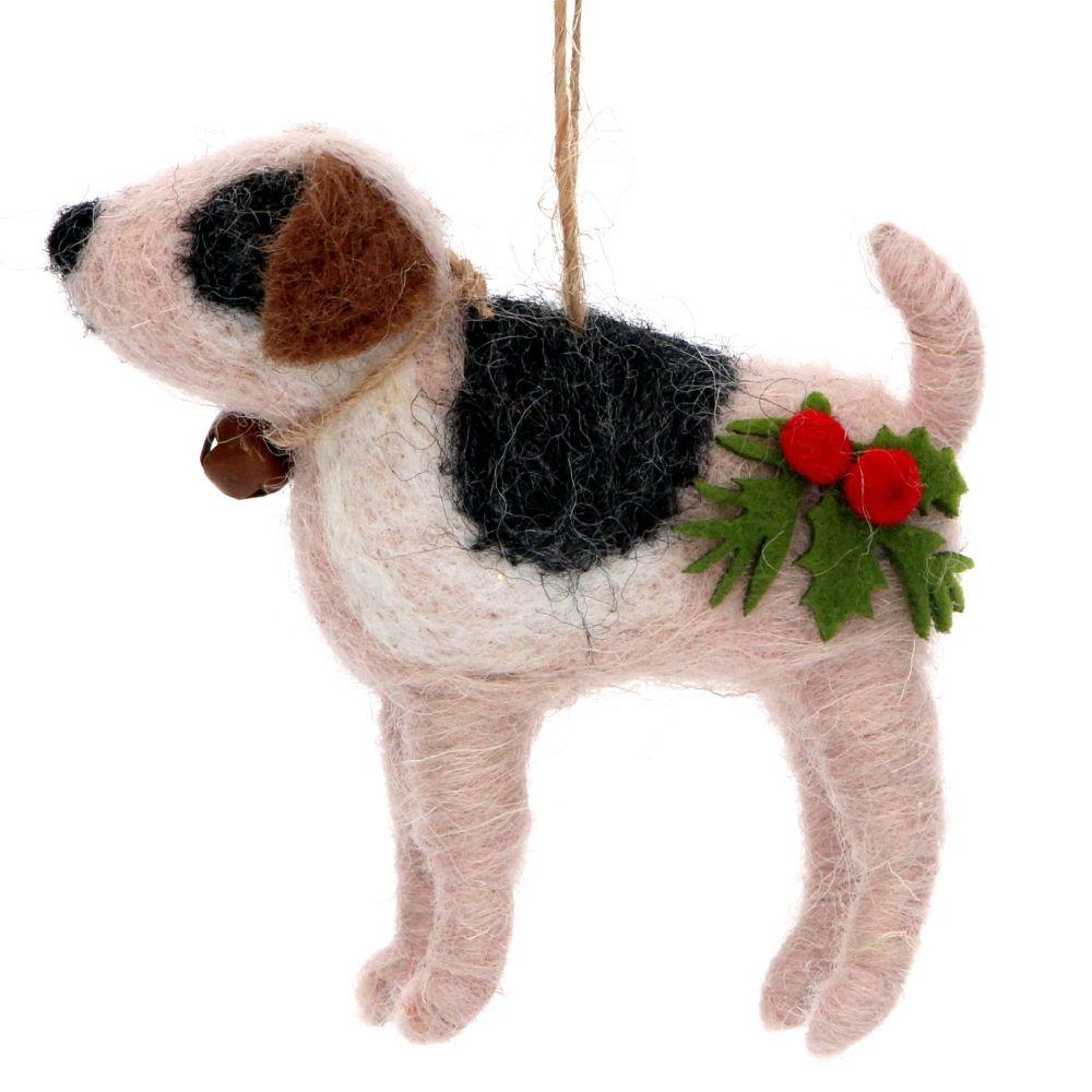 Gisela Graham Wool Dog with Holly Decoration