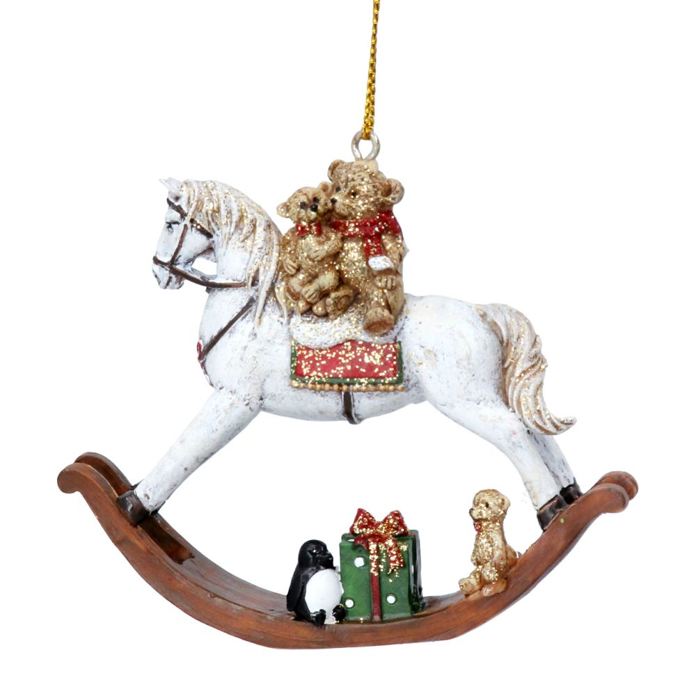 Gisela Graham Resin Teddy on a Rocking Horse Decoration