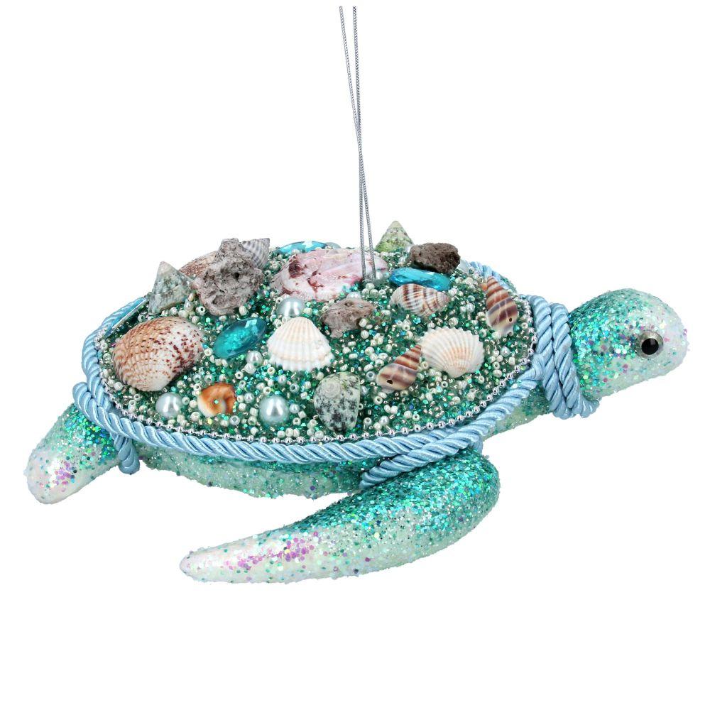 Gisela Graham Turquoise Bejewelled Turtle Decoration