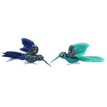 Gisela Graham Set of Two Sequin and Feather Hummingbird Clips