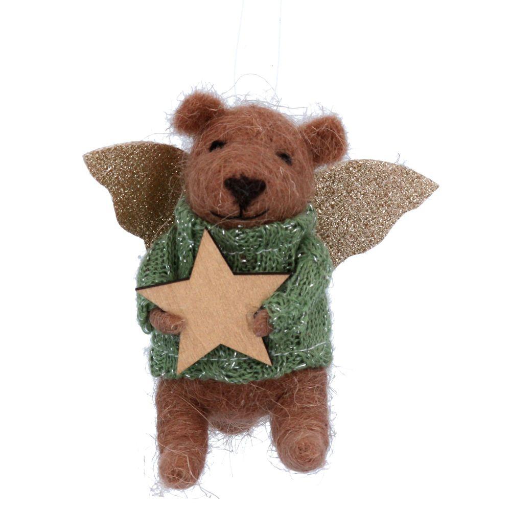 Gisela Graham Wool Angel Teddy with Gold Star