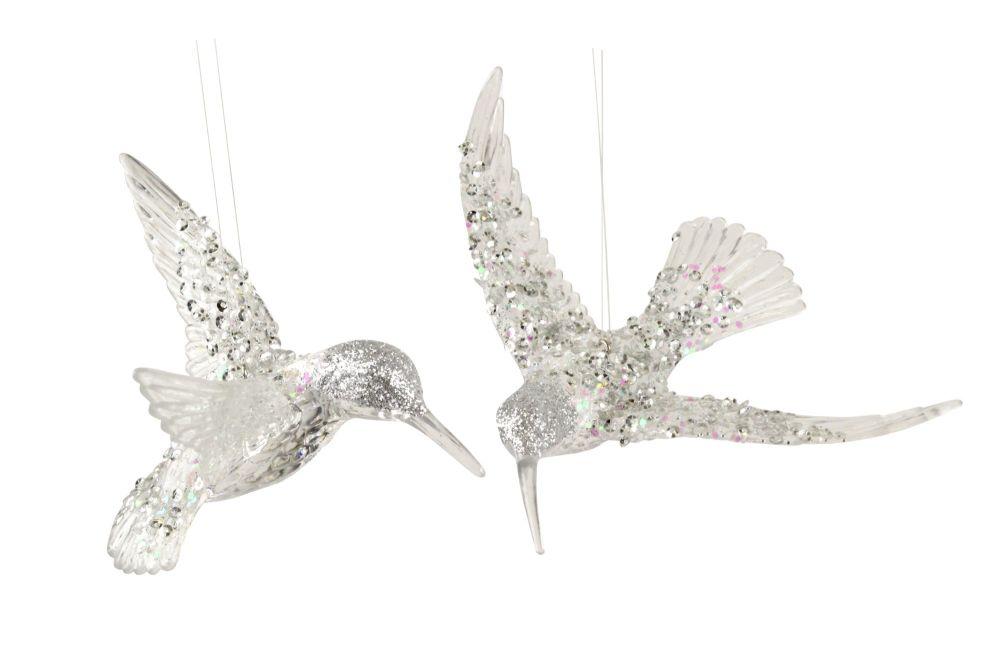 Gisela Graham Silver Glitter Hummingbird Decorations - Set of 2