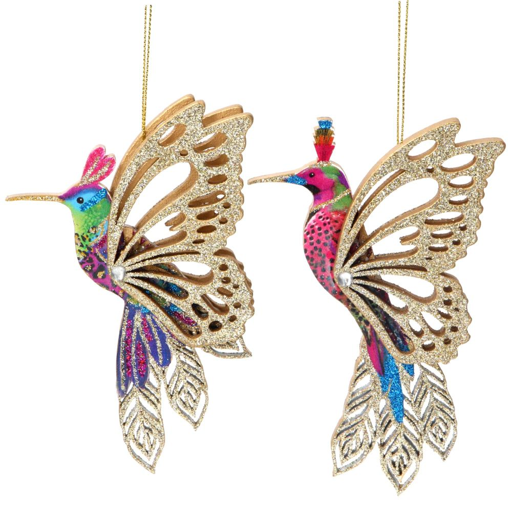 Gisela Graham Wooden Fretwork Hummingbird Decorations - Set of 2