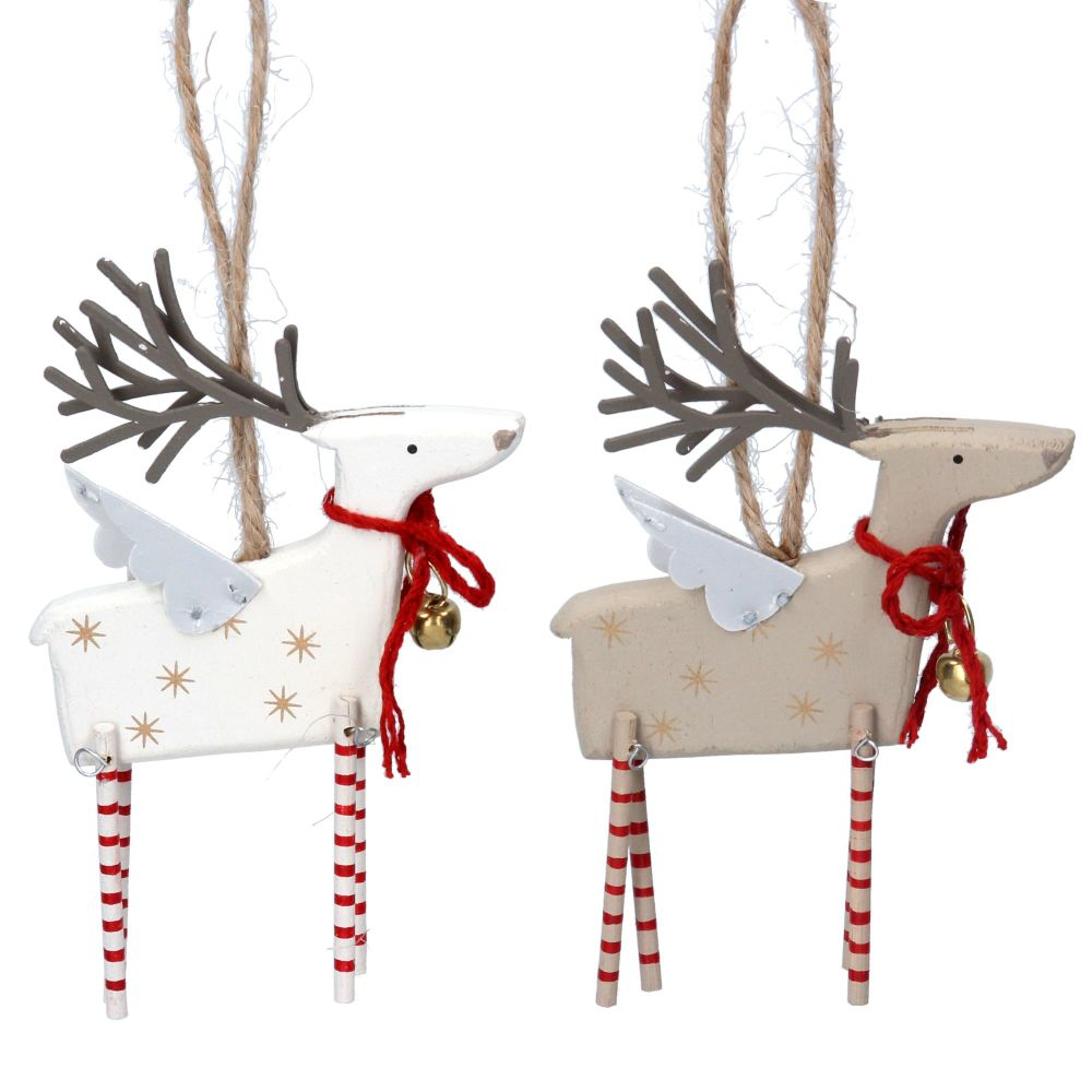 Gisela Graham Wooden Reindeers with Tin Wings - 2 Assorted