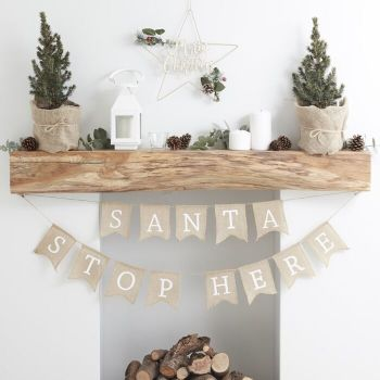 Ginger Ray Santa Stop Here Hessian Bunting