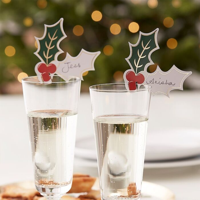 Ginger Ray Holly Glass Name Decorations