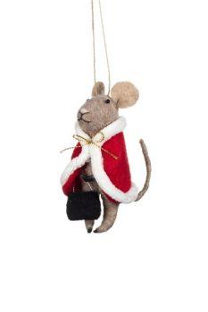 Christmas Cape Felt Mouse Decoration