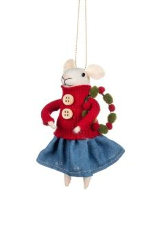 Felt Mouse in Denim Skirt with Wreath Decoration