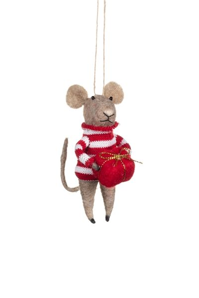 Felt Mouse with Stripy Jumper and Gift Decoration