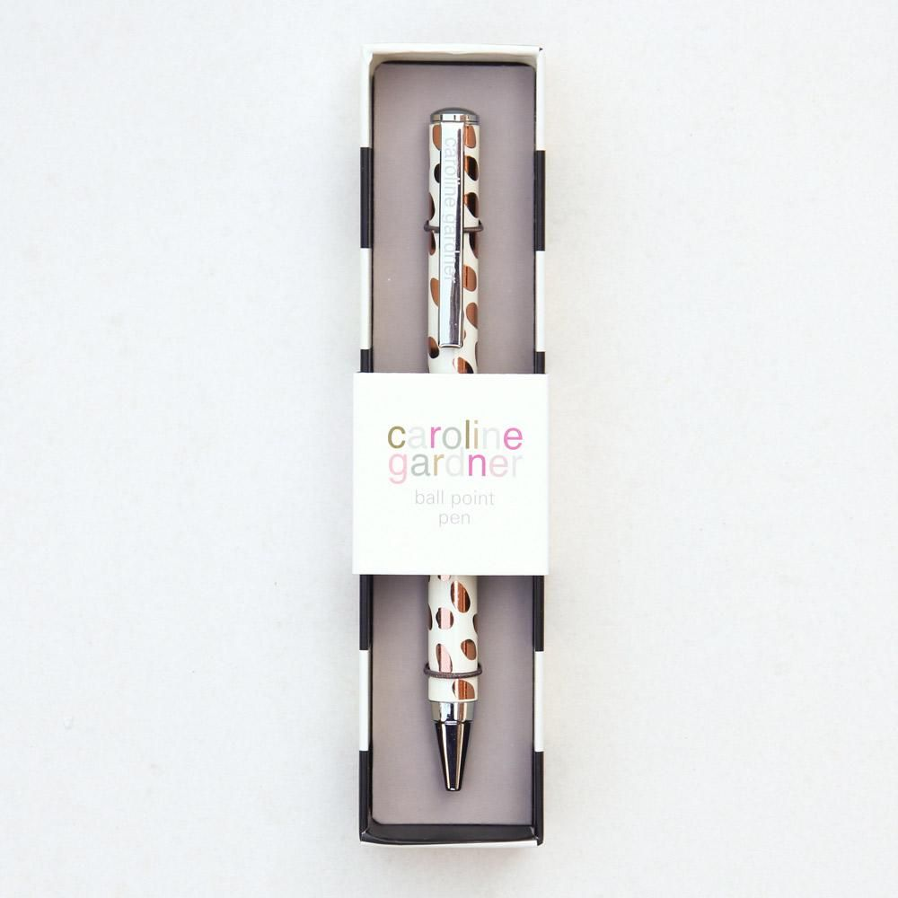 Caroline Gardner Rose Gold Dotty Boxed Pen