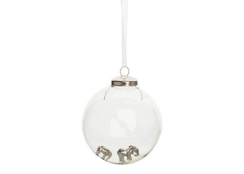 Winter's Tale Elephant and Calf Glass Bauble
