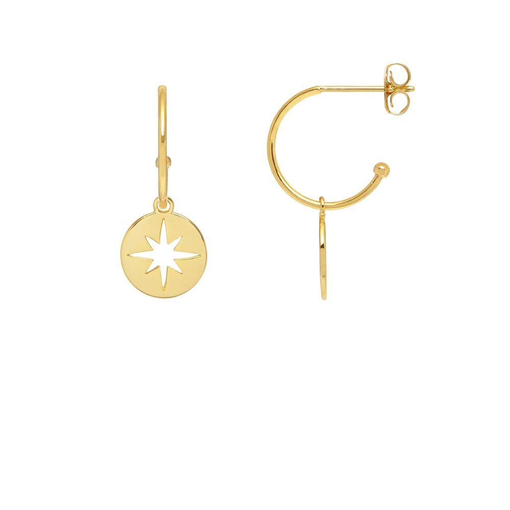 Estella Bartlett Starburst Disc Drop Hoop Earrings