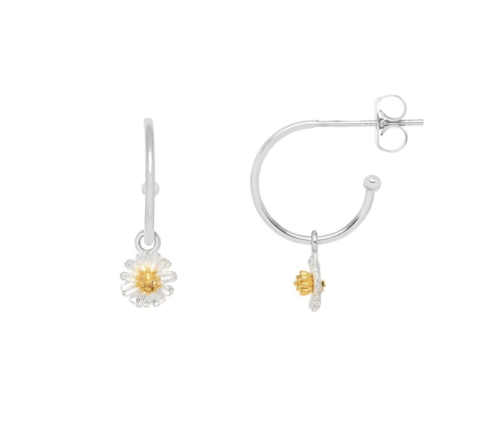 Estella Bartlett Mini Wildflower Drop Hoop Earrings