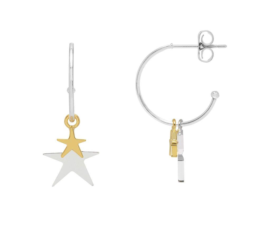 Estella Bartlett Double Star Drop Hoop Earrings