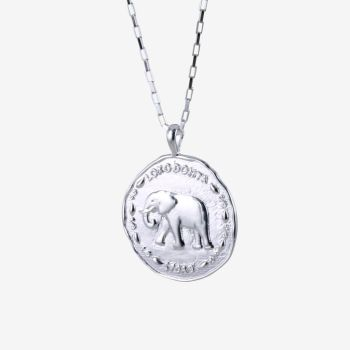 Sterling Silver Elephant Coin Necklace