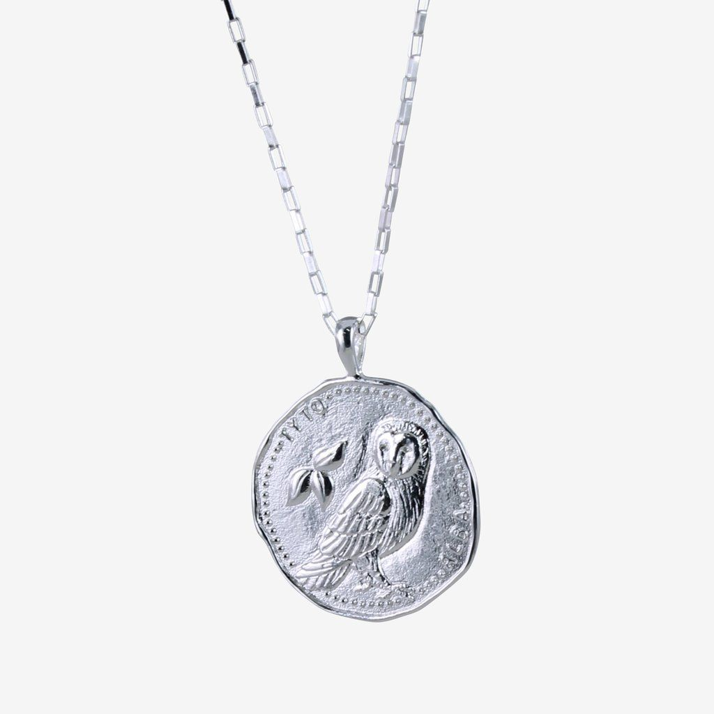 Sterling Silver Owl Coin Necklace