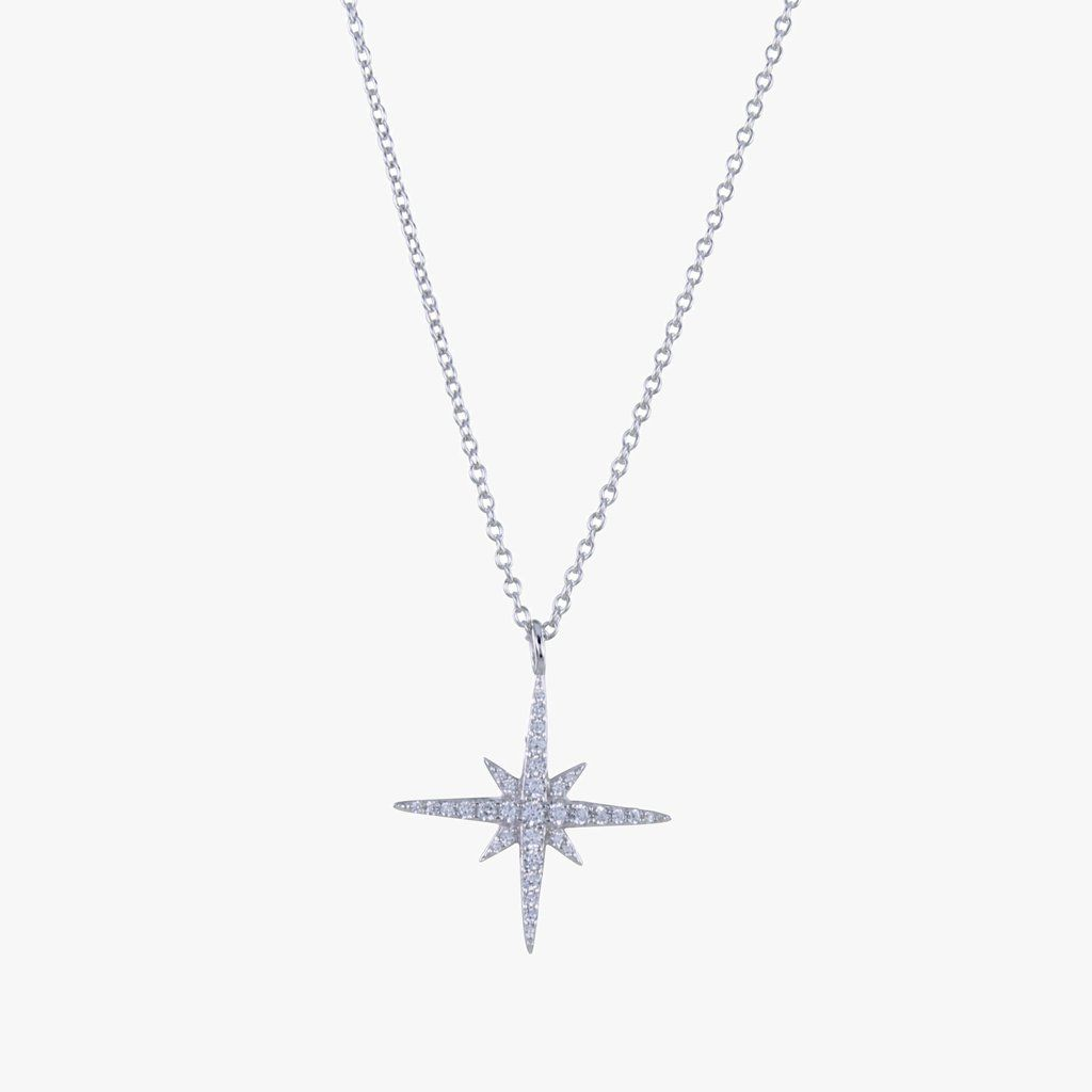 Sterling Silver Pave Christmas Star Necklace