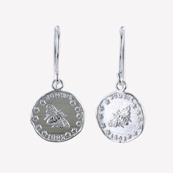 Sterling Silver Bee Coin Earrings