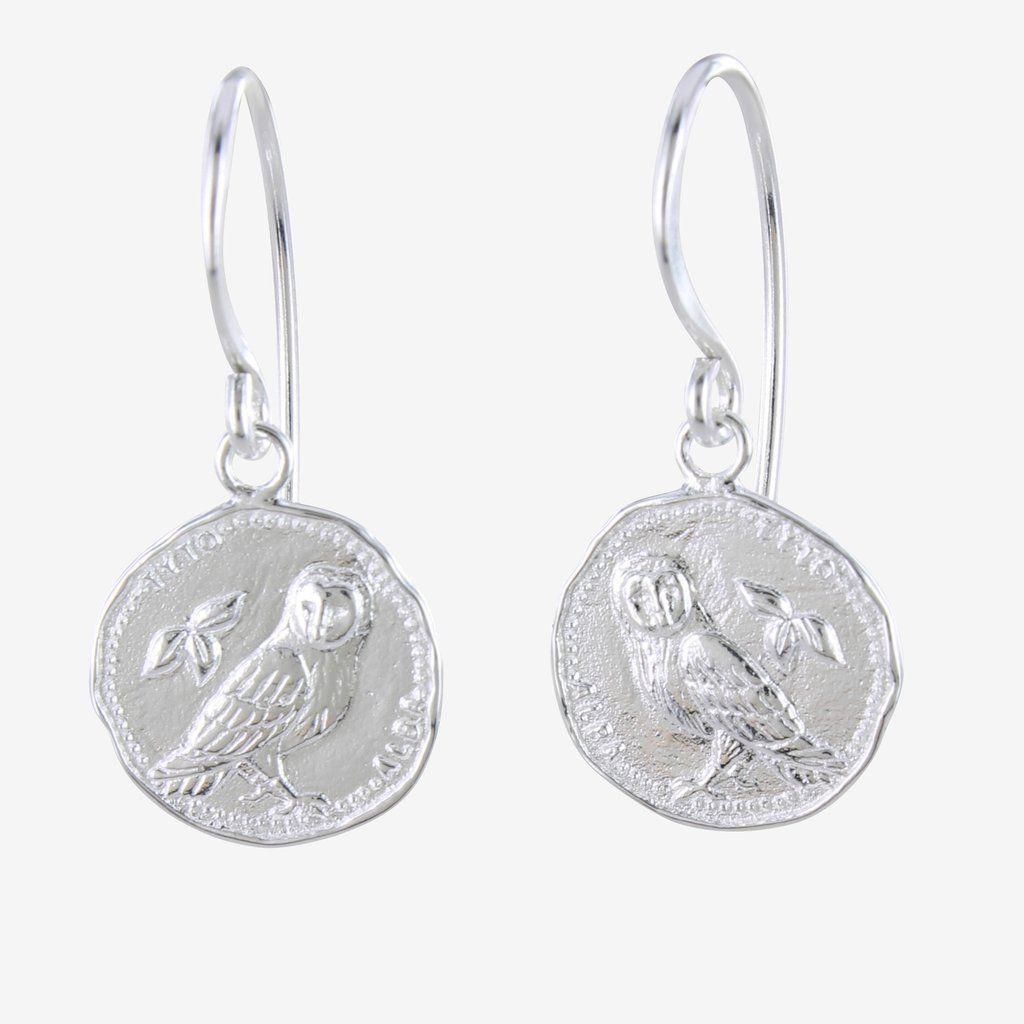 Sterling Silver Owl Coin Earrings