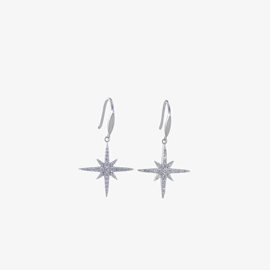 Sterling Silver Pave Christmas Star Earrings