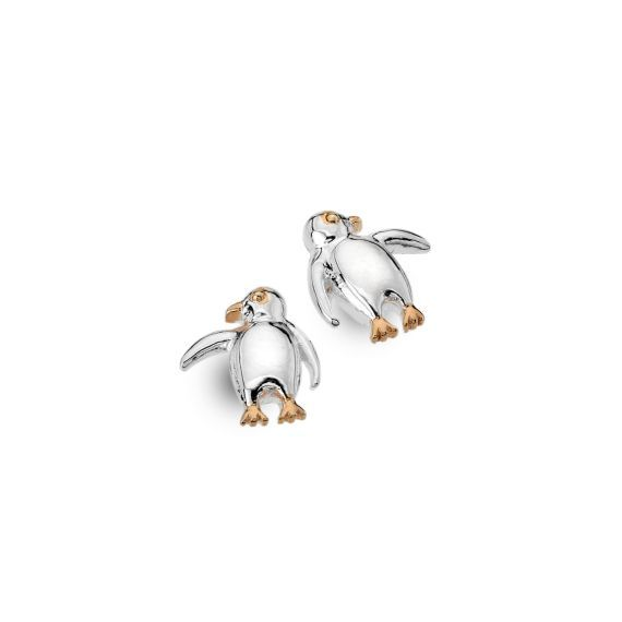Sterling Silver and Rose Gold Penguin Studs