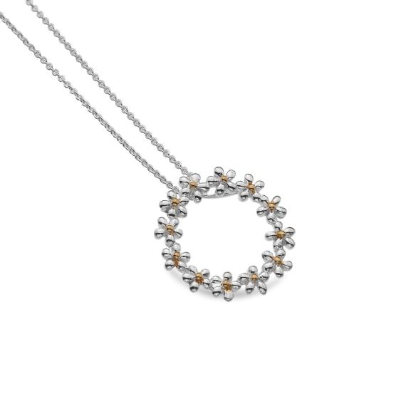 Sterling Silver Daisy Circle Necklace