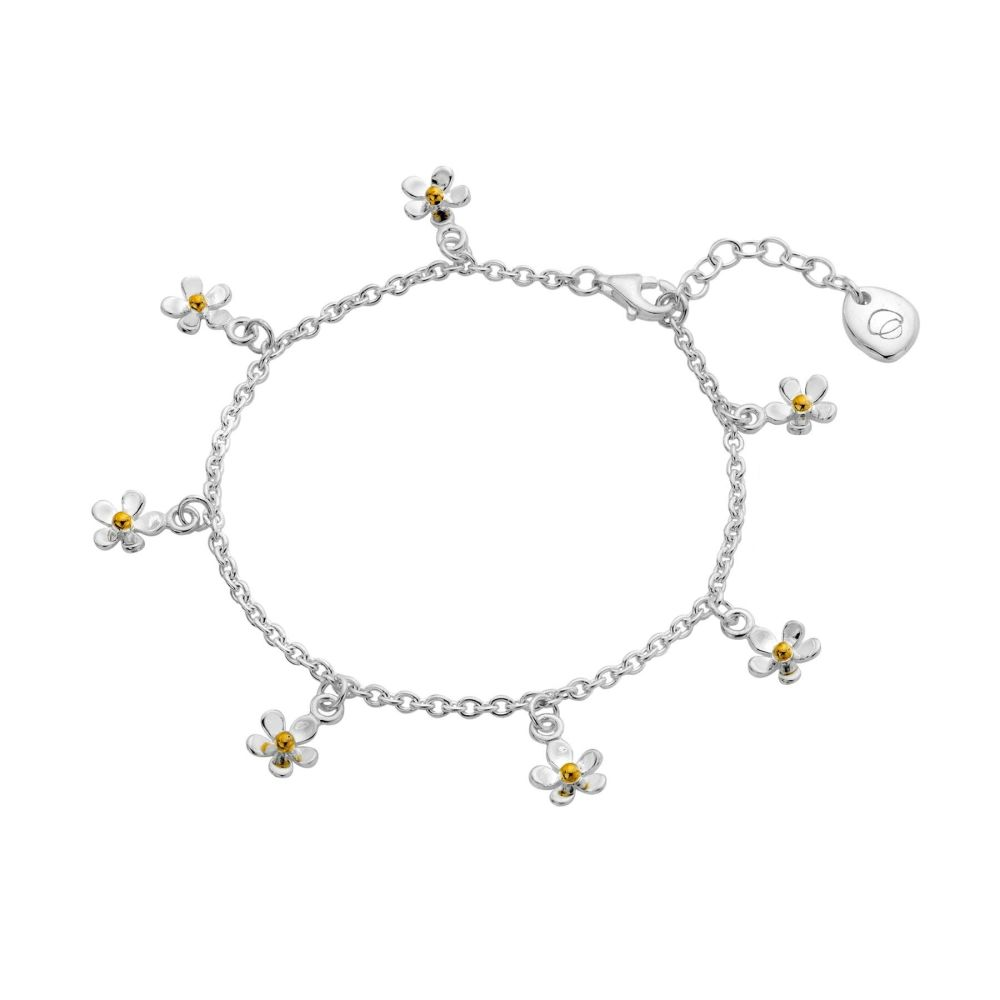 Sterling Silver Tiny Daisies Charm Bracelet