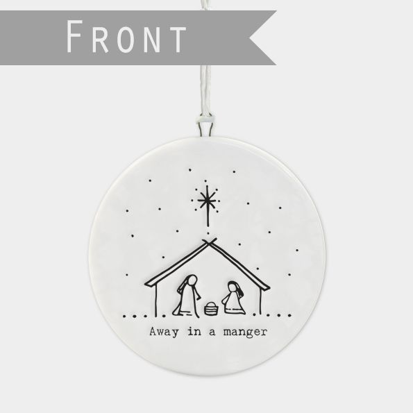 East of India Flat Porcelain 'Away in a Manger' Nativity Bauble