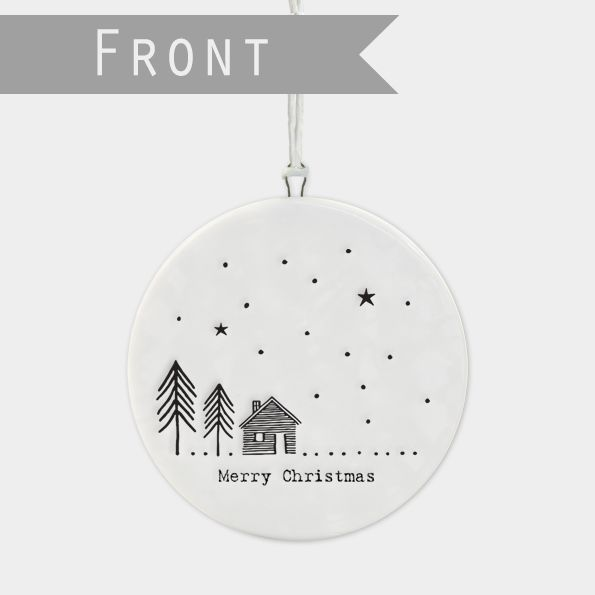 East of India Flat Porcelain 'Cabin in the Woods'  Bauble
