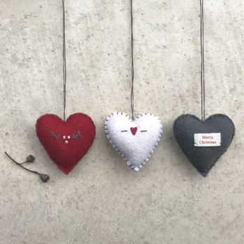 East of India Felt Stitch Heart Decorations - Small