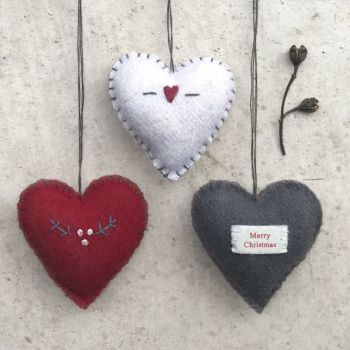 East of India Felt Stitch Heart Decorations - Medium