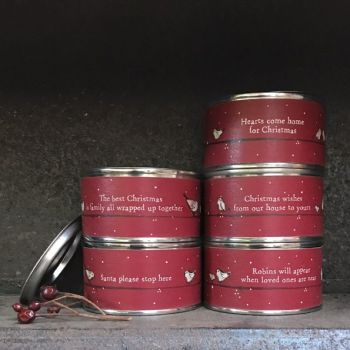 East of India Christmas Tin Candles - 5 Assorted