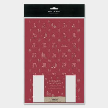 East of India Sticker Advent Set - Red Forest