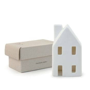 East of India Porcelain Tealight House - Small White Roofed