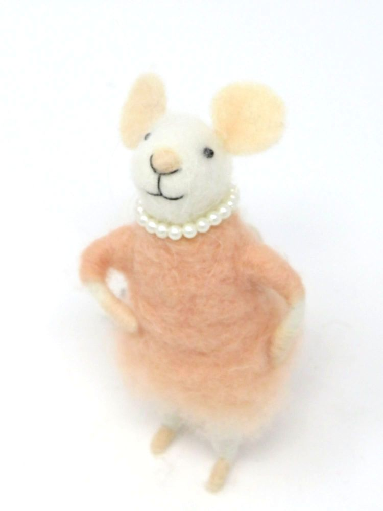 Felt Mouse with Pearl Necklace - Pink