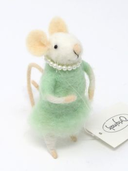 Felt Mouse with Pearl Necklace - Green