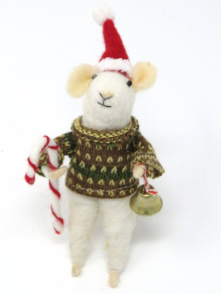 Felt Mouse with Candy Cane