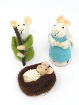 Jesus, Mary and Joseph Felt Mice Set