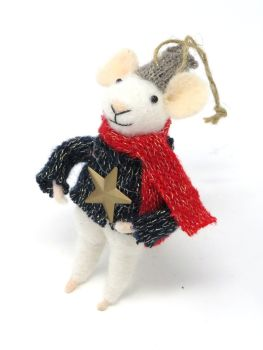 Felt Mouse with Star Jumper and Hat