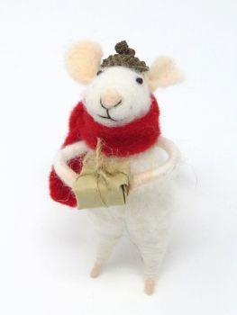 Felt Mouse with Acorn Hat and Parcel