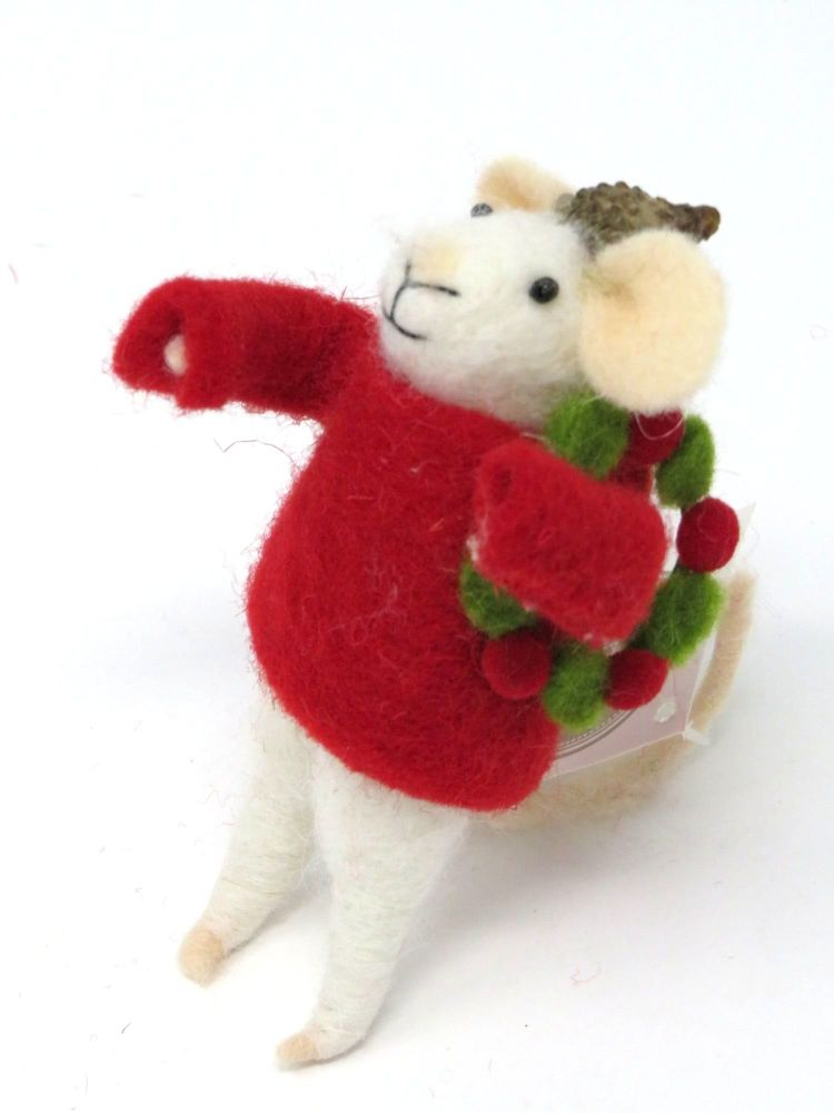 Felt Mouse with Acorn Hat and Wreath