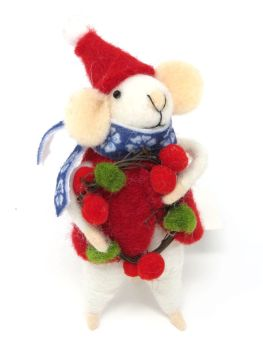 Felt Mouse with Santa Hat and Wreath