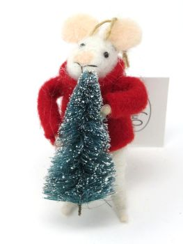 Felt Mouse with Christmas Tree