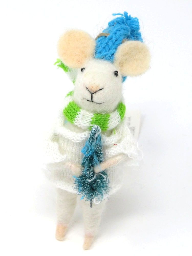 Felt Mouse with Blue Hat and Christmas Tree