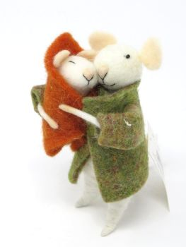 Felt Mice Mother and Baby Decoration