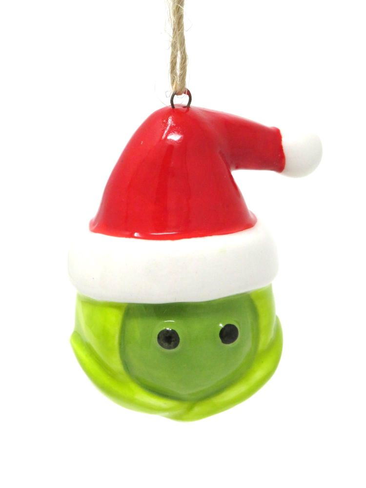 Ceramic Sprout in Santa Hat Decoration