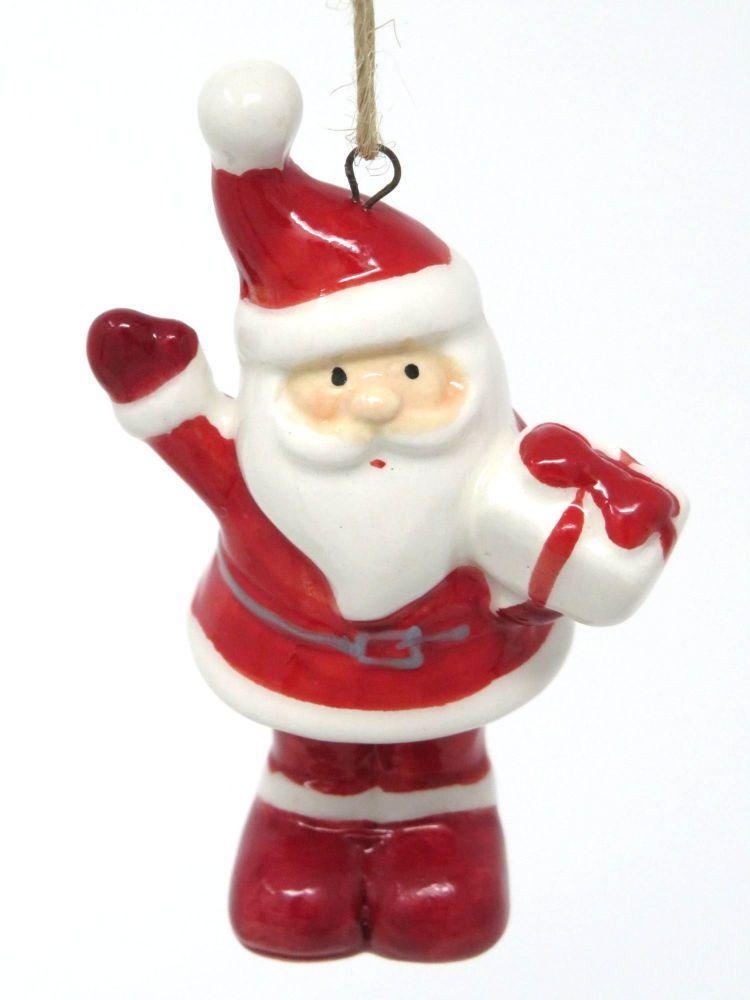 Ceramic Waving Santa Decoration