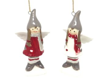 Ceramic Nordic Angel - Set of 2